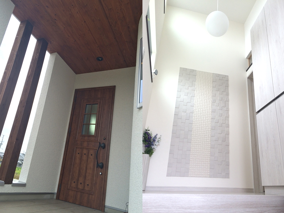 白塗りの外観とR壁02